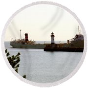 The Alpena Ship Round Beach Towel