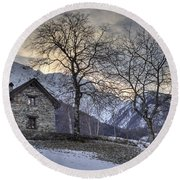 The Alps In Winter Round Beach Towel