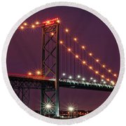 The Ambassador Bridge At Night - Usa To Canada Round Beach Towel by Gordon Dean II