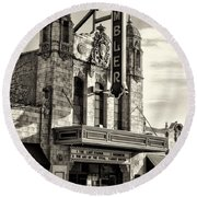 The Ambler Theater In Sepia Round Beach Towel