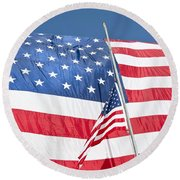 The American Flag Hangs Round Beach Towel