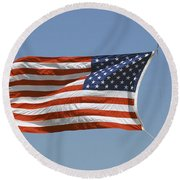 The American Flag Waves At Half-mast Round Beach Towel