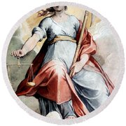 The Angel Of Justice Round Beach Towel