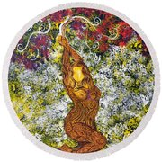The Angel Tree Round Beach Towel