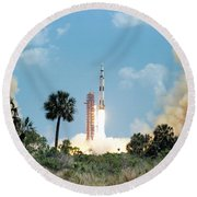The Apollo 16 Space Vehicle Is Launched Round Beach Towel
