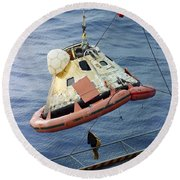 The Apollo 8 Capsule Being Hoisted Round Beach Towel