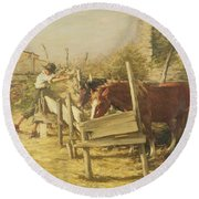 The Appian Way Round Beach Towel by Henry Herbert La Thangue