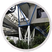 The Area Below The Capsules Of The Singapore Flyer Round Beach Towel
