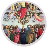 The Ascension Of Christ Round Beach Towel by Pietro Perugino