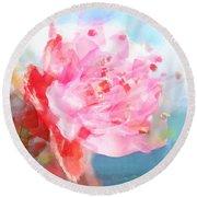 The Aura Of A Peach Blossom Round Beach Towel