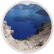 The Back Side Of Crater Lake  Round Beach Towel