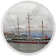 The Balclutha Ship And Alcatraz Island Round Beach Towel