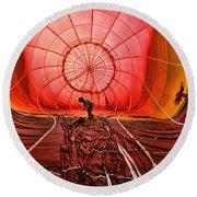 The Balloonist - Inside A Hot Air Balloon Round Beach Towel