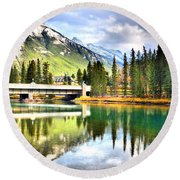 The Banff Bridge Round Beach Towel