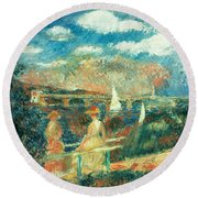 The Banks Of The Seine At Argenteuil Round Beach Towel