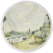The Banks Of The Seine At Bougival Round Beach Towel