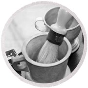 The Barber Shop 5 Bw Round Beach Towel