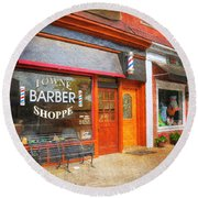The Barber Shop Round Beach Towel