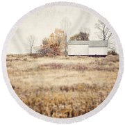 The Barn On The Hill Round Beach Towel