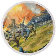 The Battle Of Gettysburg Round Beach Towel by Severino Baraldi
