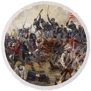 The Battle Of Spotsylvania Round Beach Towel by Henry Alexander Ogden