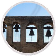 The Bells At The San Juan Capistrano Mission Round Beach Towel