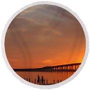 The Biloxi Bay Bridge At Sunset Round Beach Towel