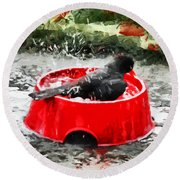 The Birdbath  Round Beach Towel