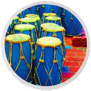 The Blue Drums Round Beach Towel