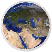 The Blue Marble Next Generation Earth Round Beach Towel by Stocktrek Images
