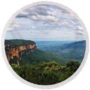 The Blue Mountains - Panoramic View Round Beach Towel