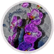 The Blue Orchid  Round Beach Towel