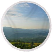 The Blue Ridge Mountains In July 01 Round Beach Towel