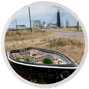 The Boat Garden Round Beach Towel