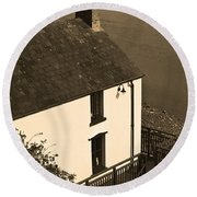 The Boathouse At Laugharne Sepia Round Beach Towel