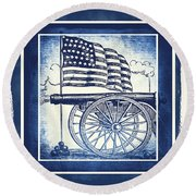 The Bombs Bursting In Air Blue Round Beach Towel