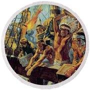 The Boston Tea Party Round Beach Towel by Luis Arcas Brauner