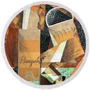 The Bottle Of Banyuls Round Beach Towel