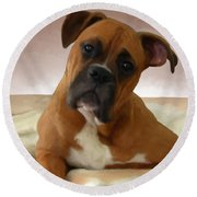 The Boxer Round Beach Towel by Snake Jagger