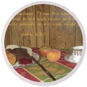 The Bread Of Life Round Beach Towel