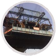 The Bridge Building Platform Being Used In The Construction Of The Delhi Metro Round Beach Towel
