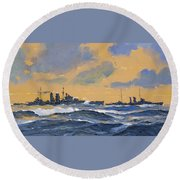 The British Cruisers Hms Exeter And Hms York  Round Beach Towel
