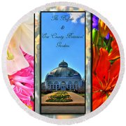 The Buffalo And Erie County Botanical Gardens Triptych Series With Text Round Beach Towel