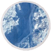 The Calving Front Of The Jakobshavn Round Beach Towel