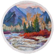 The Canadian Rockies Round Beach Towel