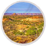 The Canyon In The Distance Round Beach Towel