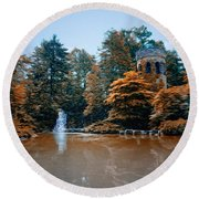 The Castle At Longwood Gardens Round Beach Towel