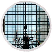 The Cathedral Chandelier  Round Beach Towel