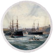 The Channel Fleet Off Scarborough Round Beach Towel