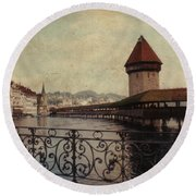 The Chapel Bridge In Lucerne Switzerland Round Beach Towel